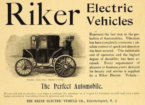 An advert for Riker electric vehicles