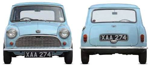 Austin Mini Seven front and rear view