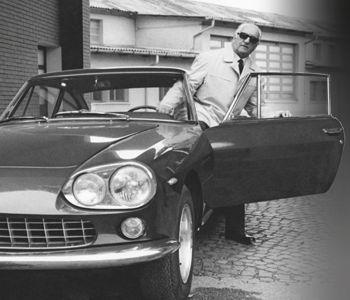 Enzo Ferrari makes an arrival in a Ferrari 330GT 2+2