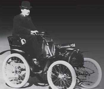 Louis Renault in his 1899 Type A Voiturette