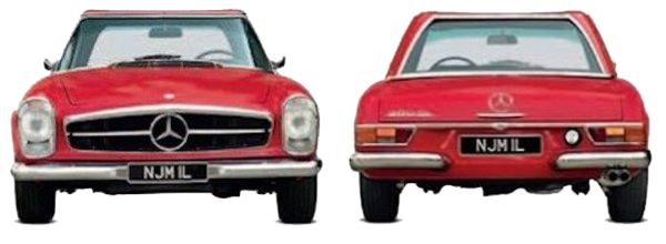 Mercedes Benz 280SL front and rear view