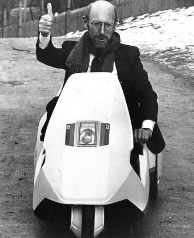 Clive Sinclair with the finished C5