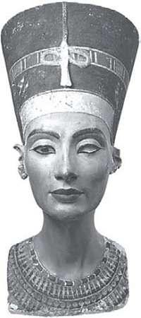 Nefertiti, painted limestone bust, about 1350 BC
