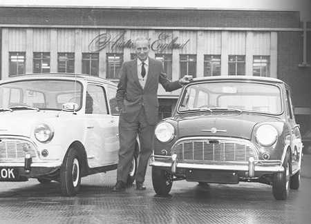 Sir Alec Issigonis and two world-famous Mini
