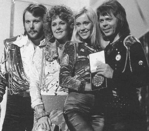 The Abba line-up left to right, Benny, Frida, Agnetha, and Bjorn