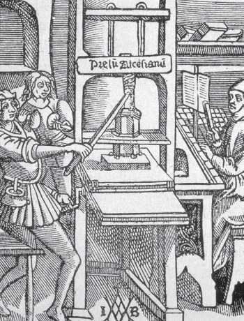 This engraving shows a printing press in 1498.